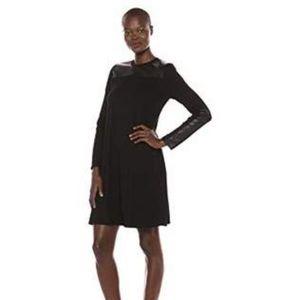 KAREN KANE Dress, Vegan Leather Trim (XS)